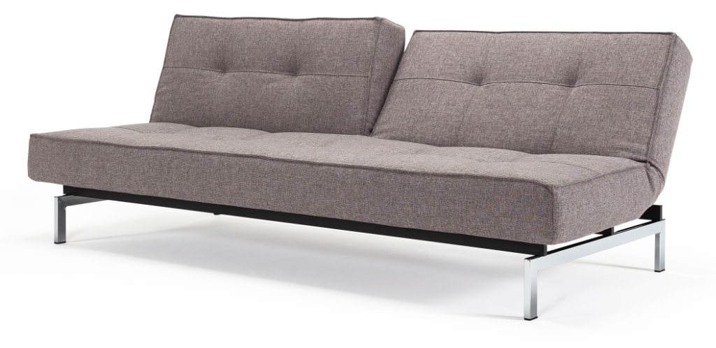 Splitback bäddsoffa, klädd i tyg 521 Mixed Dance Grey, med Chrome ben
